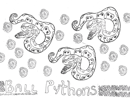 A black and white coloring page with three ball pythons and spirals scattered on it. There is balloon writing at the bottom that says ball pythons.