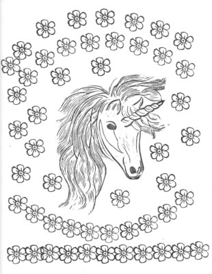 A black and white coloring page with a unicorn head in the center and flowers above and below.